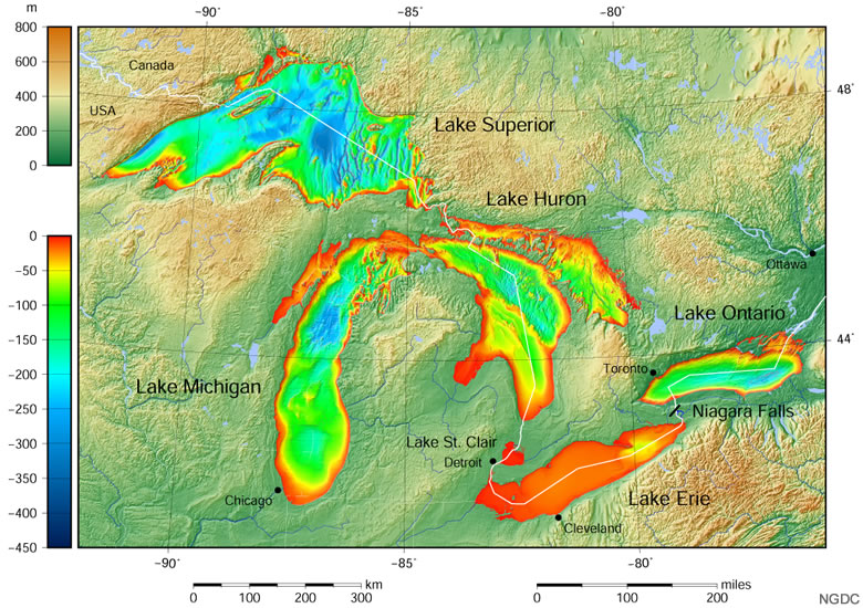 Bathymetry Map of the Great Lakes
