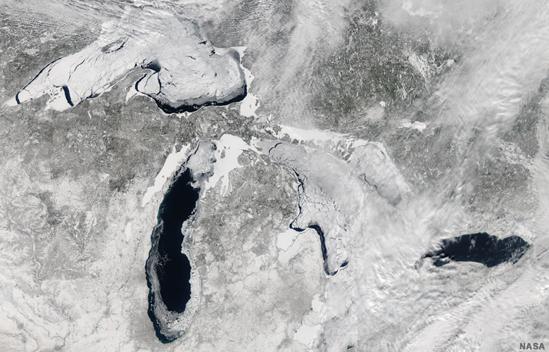 Ice cover on the Great Lakes