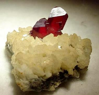 cinnabar crystals on dolomite