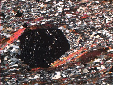 Garnet mica schist in thin section