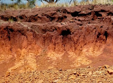 Limonite staining laterite soil