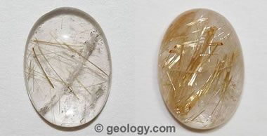 Rutilated quartz cabochons