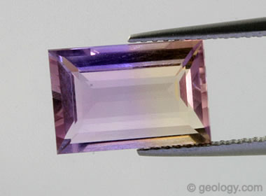 faceted ametrine and ametrine rough