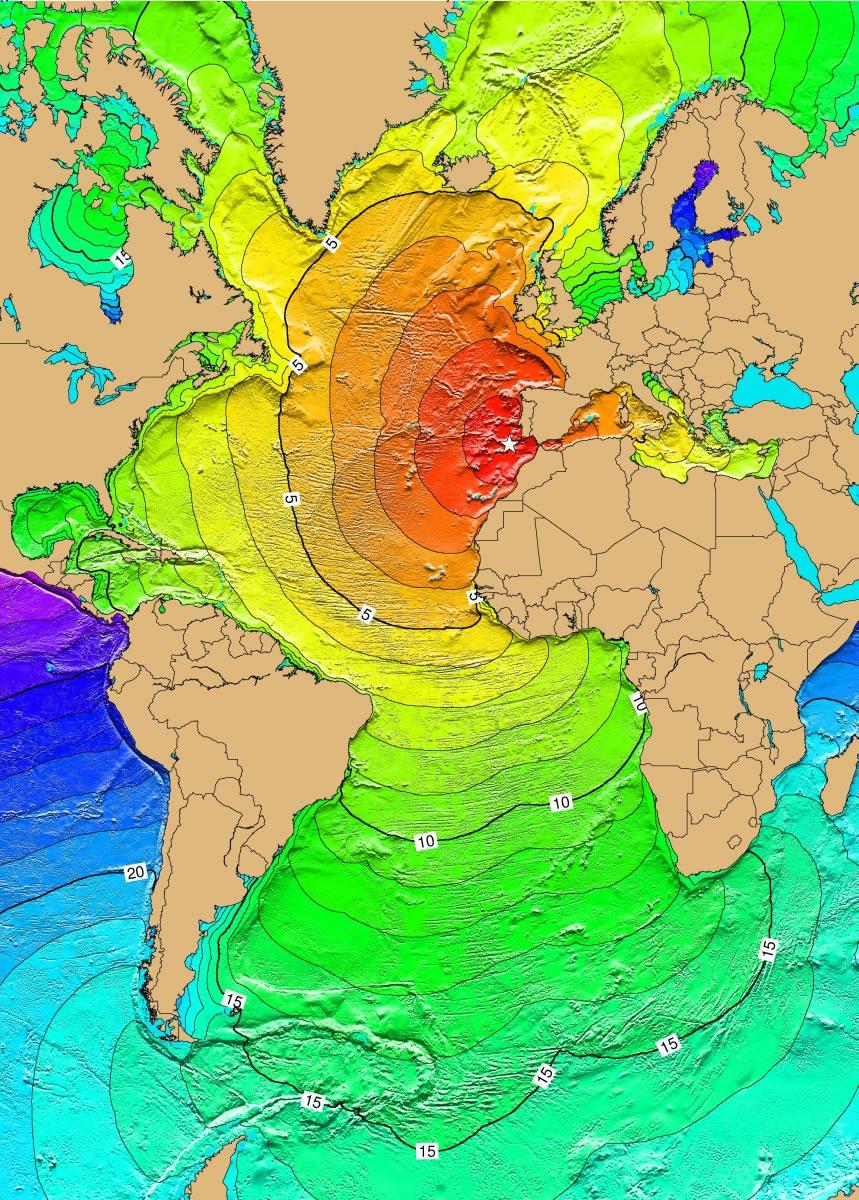 Ocean Floor Elevation : Atlantic ocean tsunami threat from earthquakes landslides