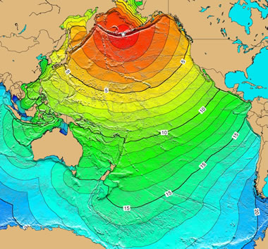 Pacific Ocean tsunami from Aleutian Islands, Alaska earthqake