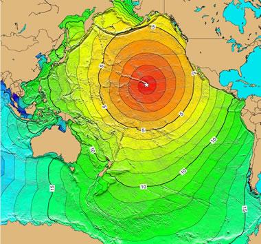 Pacific Ocean tsunami from Hawaii earthqake