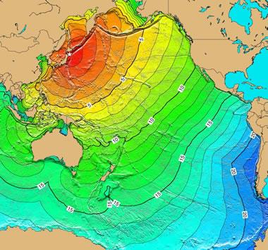 Pacific Ocean tsunami from Honshu, Japan earthqake