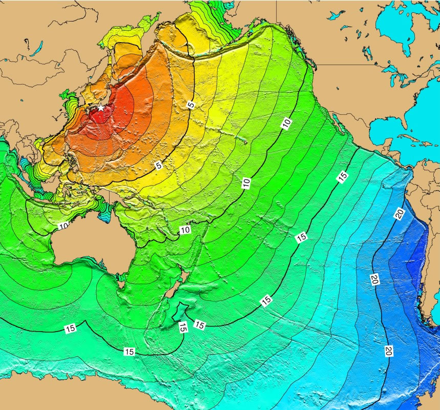 Pacific Ocean Tsunami Threat From Subduction Zone Earthquakes - Japan map time zones