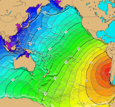 Pacific Ocean tsunami from Southern Chile earthqake