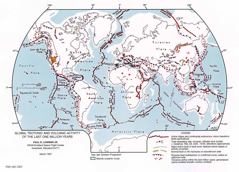 map of global tectonic and volcanic activity