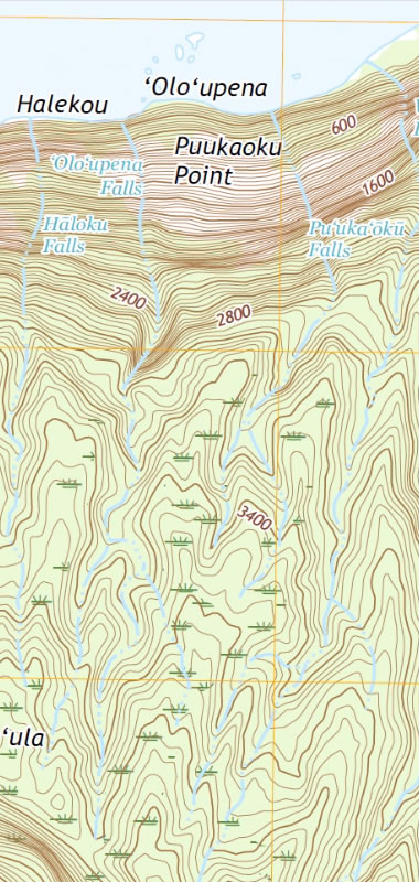 USGS topographic map of Olo'upena Falls and Pu'uka'oku Falls