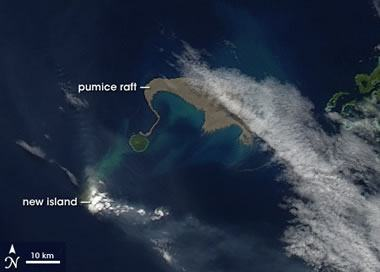 pumice raft satellite view