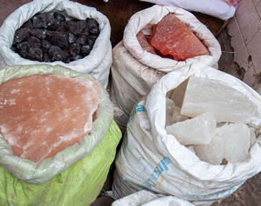 colorful rock salt at an Indian spice shop