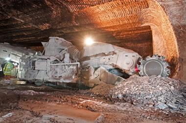 salt mine - continuous mining machine