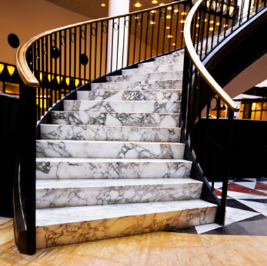 marble stairs and floor tile