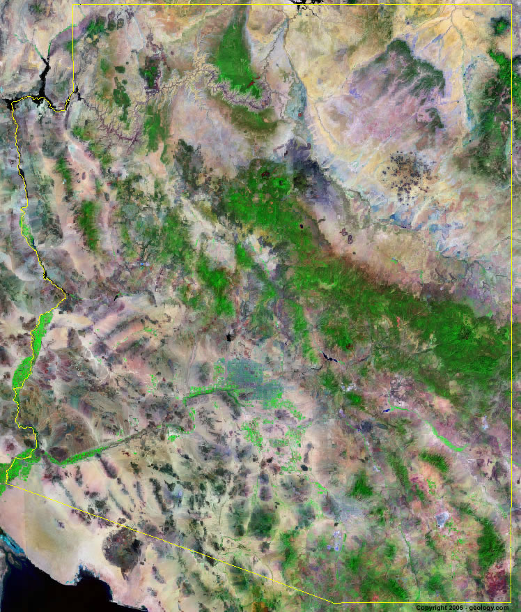 Satellite Maps Arizona Arizona Satellite Images   Landsat Color Image