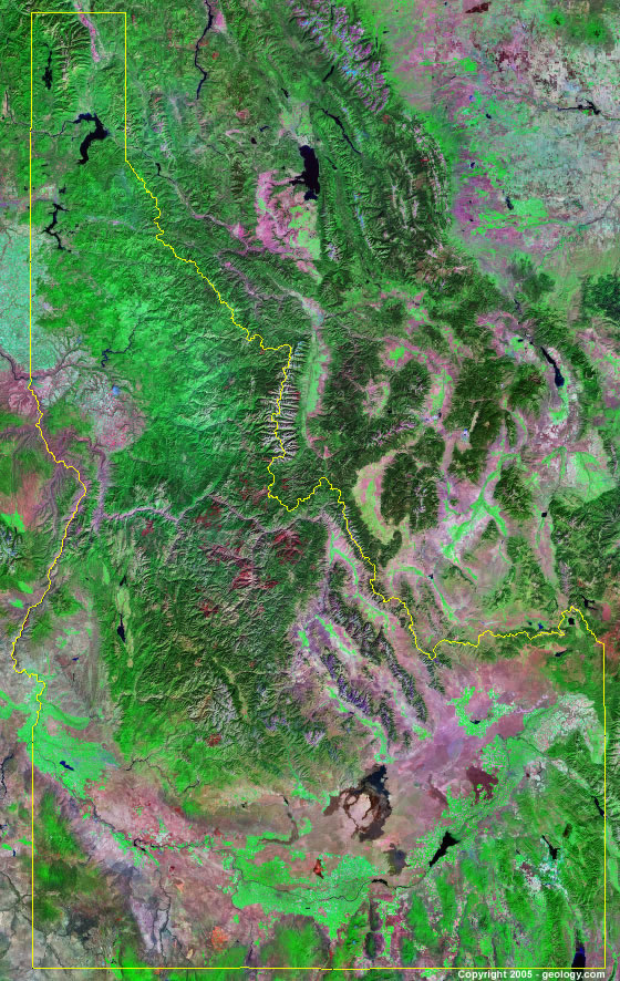 Pioneer Mountains Idaho Map.Idaho Satellite Images Landsat Color Image