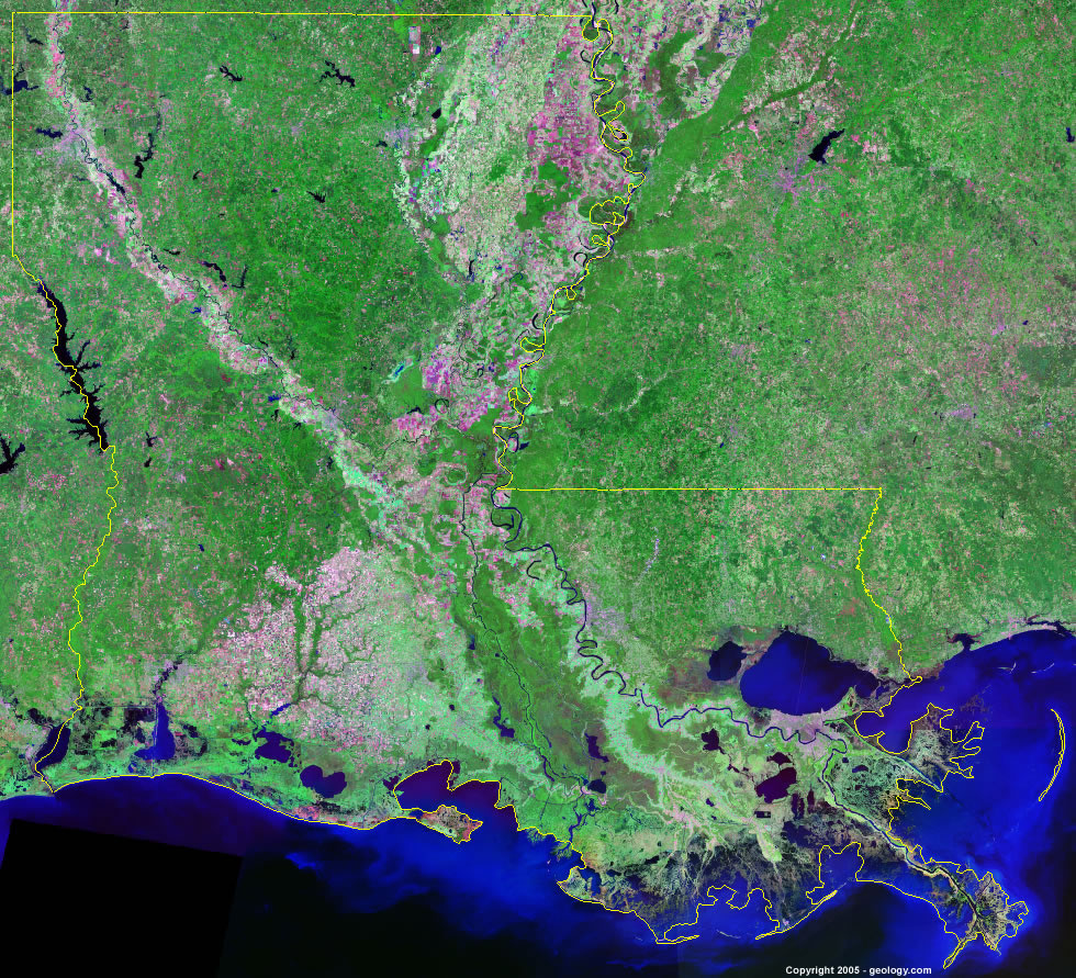 Louisiana Satellite Images Landsat Color Image - Most current satellite maps