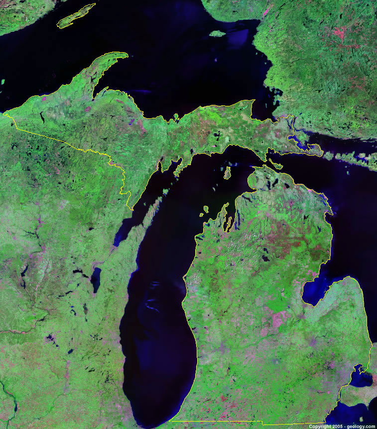 Michigan Satellite Images Landsat Color Image
