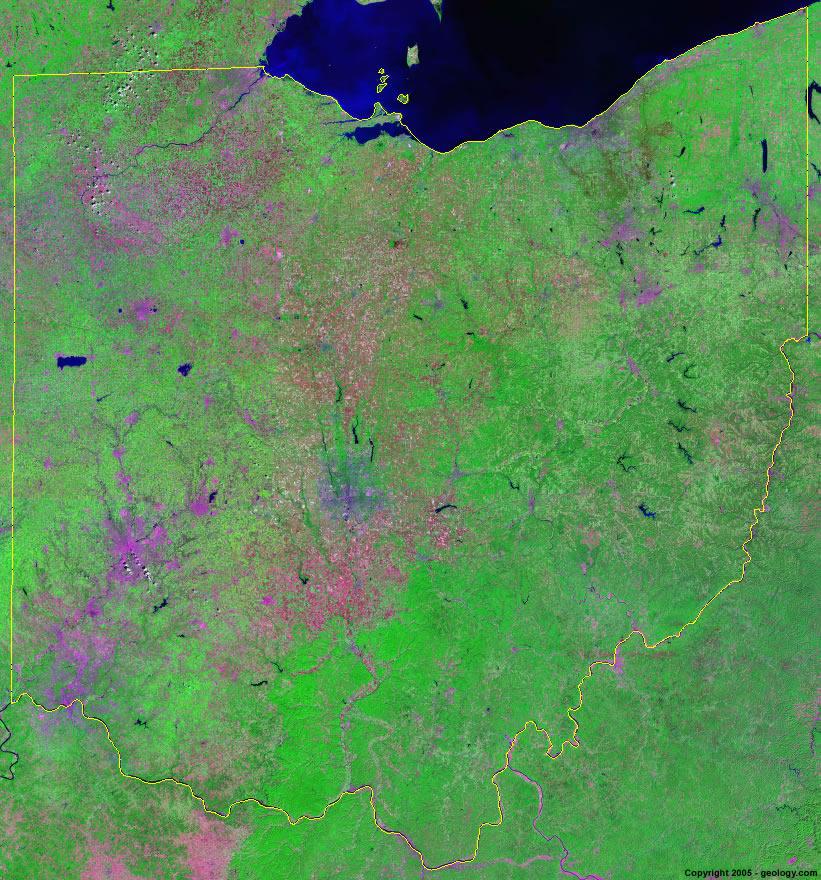 Brilliant Ohio Map.Ohio Satellite Images Landsat Color Image