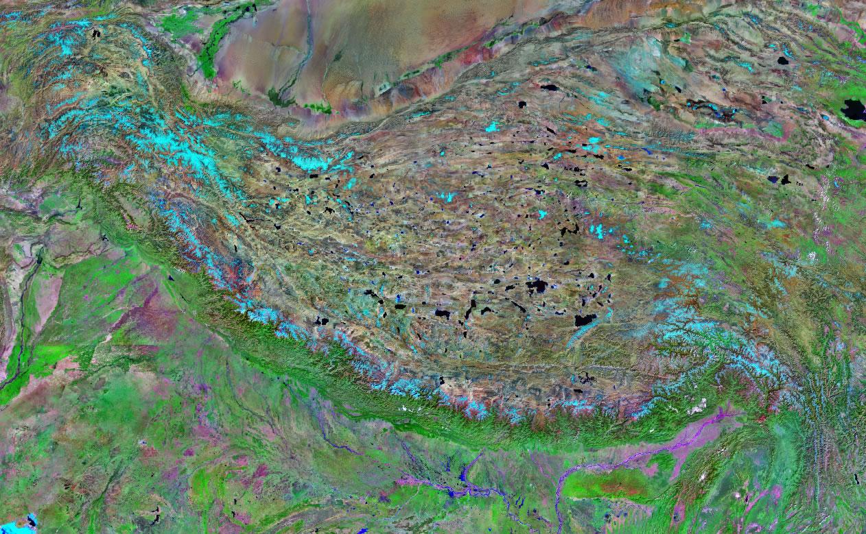Himalaya Mountain Range Satellite Image Map