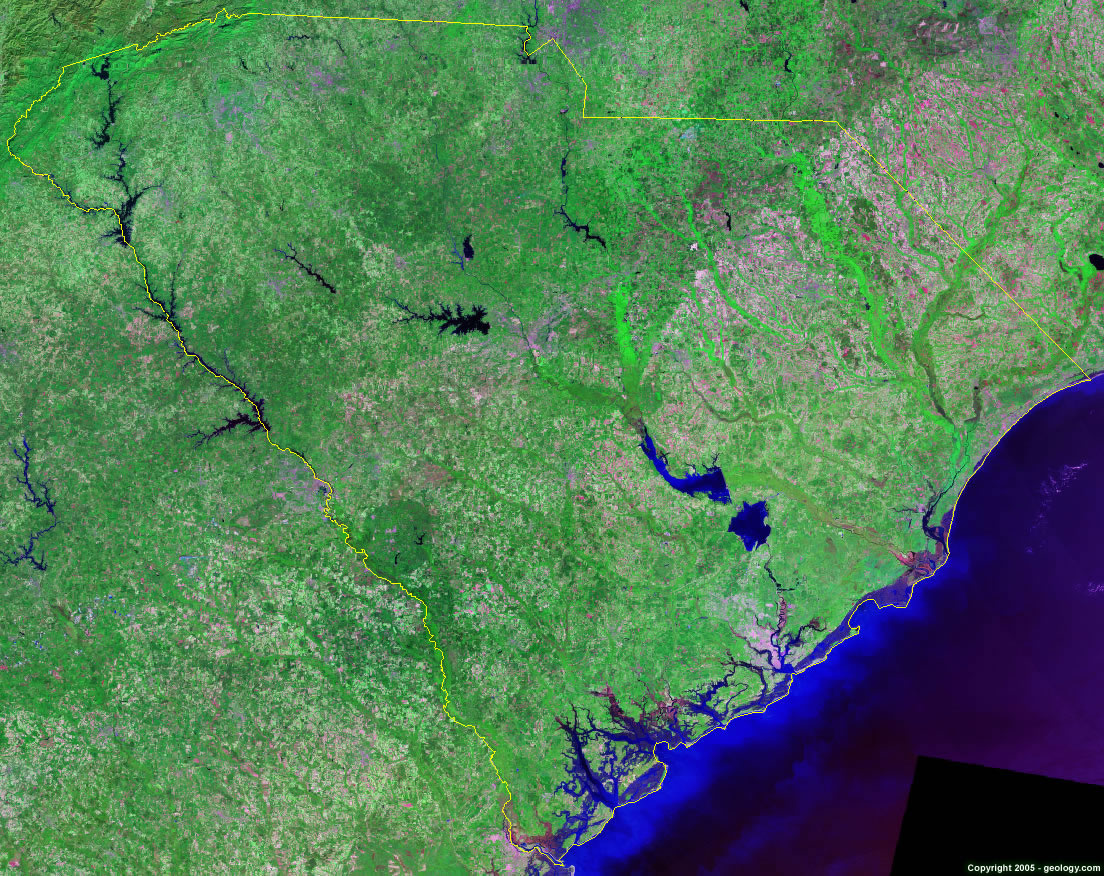 South Carolina Satellite Images Landsat Color Image - Most current satellite maps