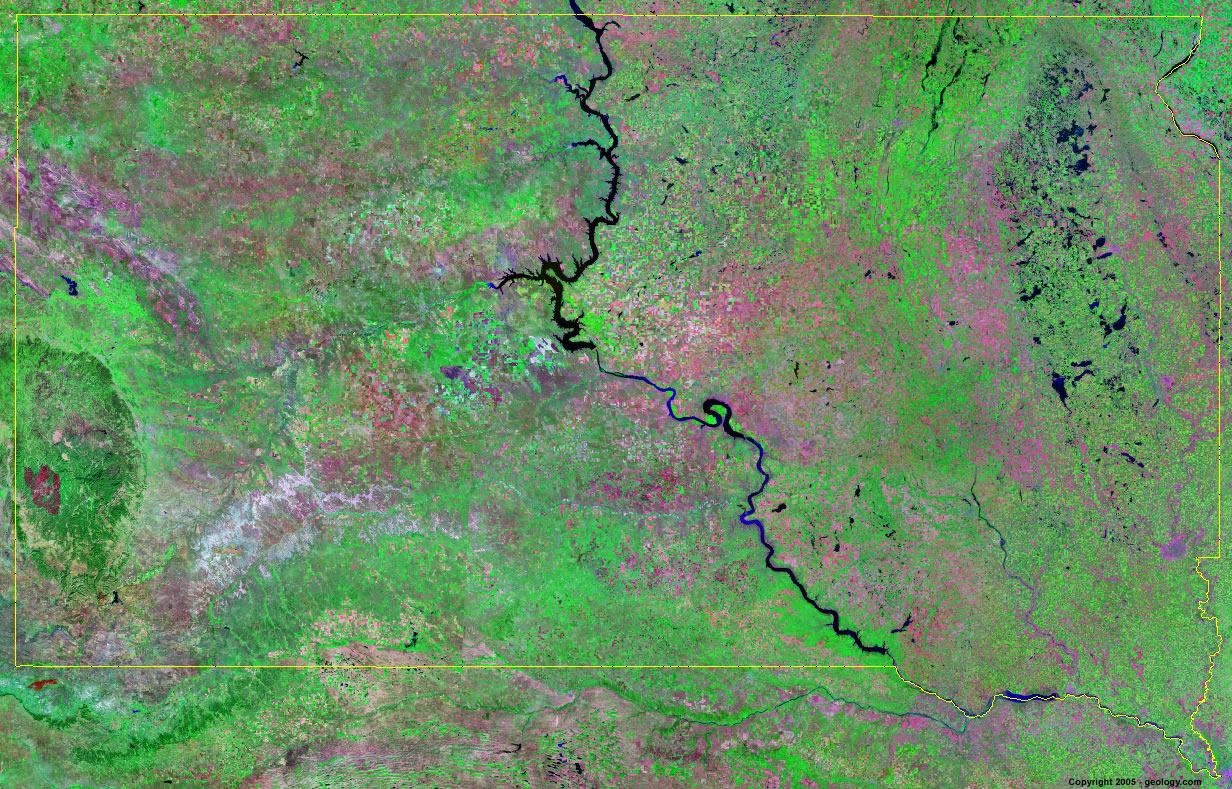 South Dakota Satellite Images - Landsat Color Image
