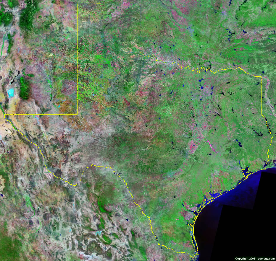 Texas Satellite Images Landsat Color Image - Real life satellite view