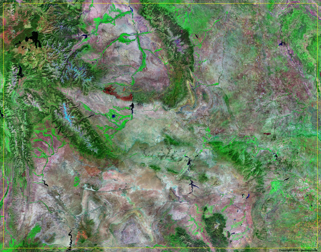 Mountain View Wyoming Map.Wyoming Satellite Images Landsat Color Image