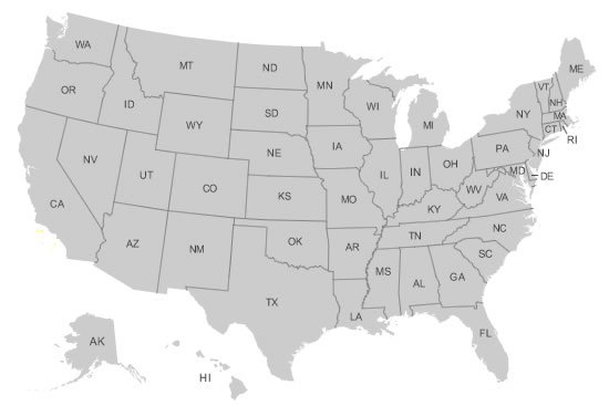US Map Collections For All States - Map of the us states