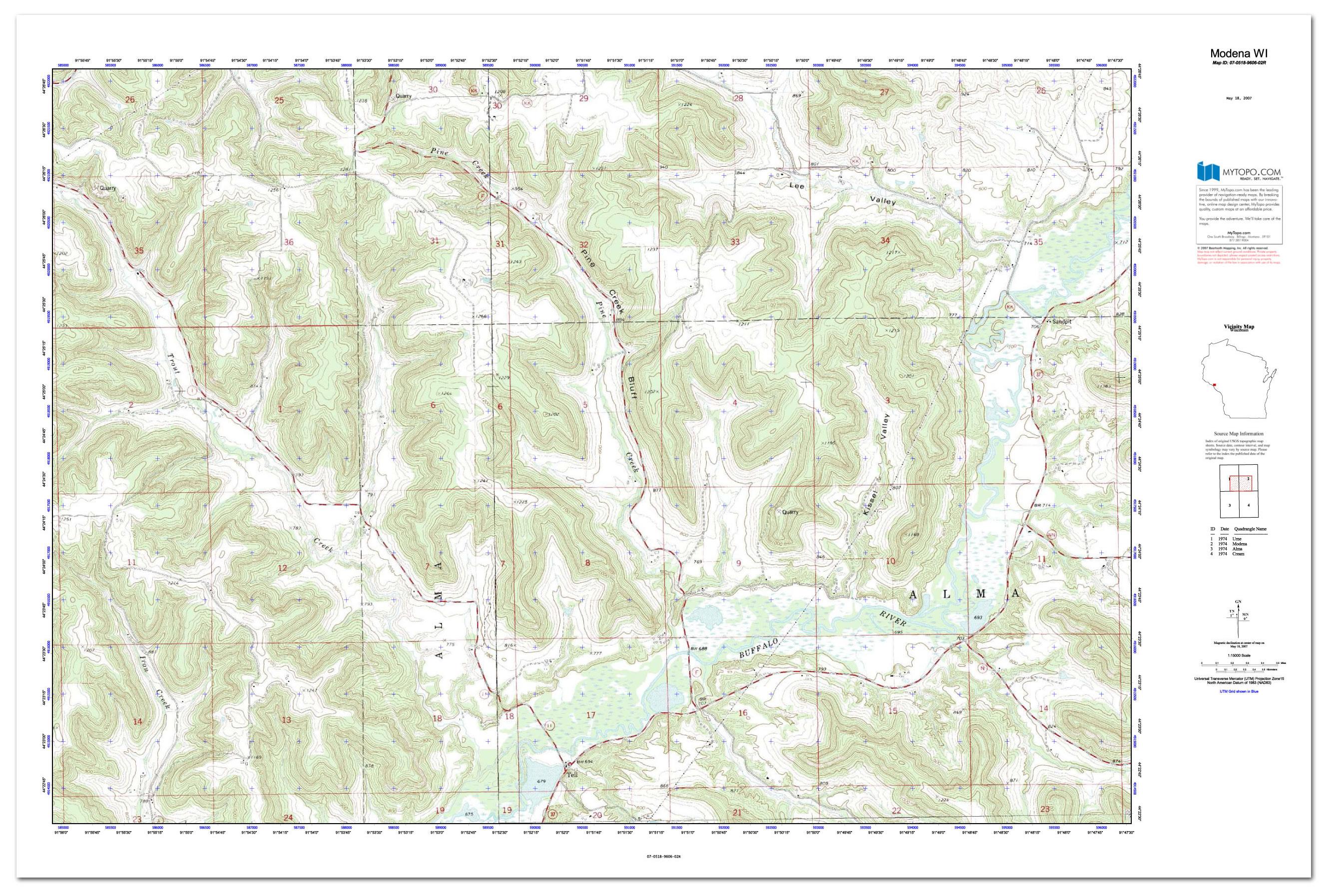 Custom Printed Topo Maps Custom Printed Aerial Photos - Mgrs maps for sale
