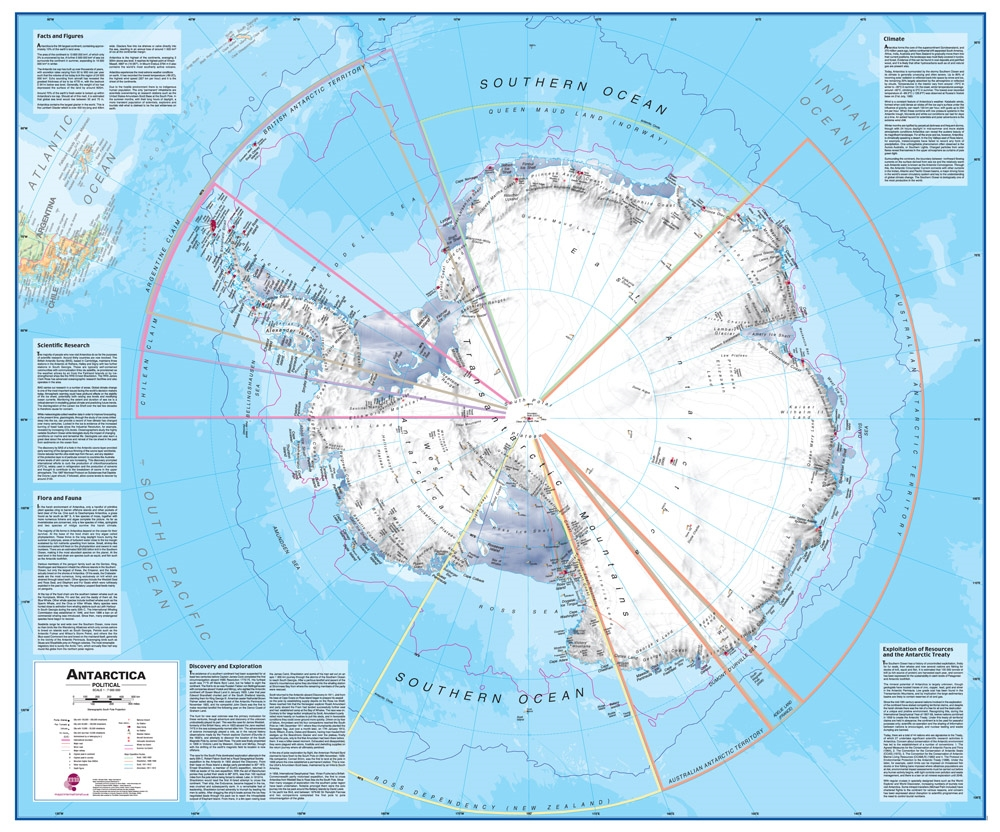 Wall Map of Antarctica and the Southern Ocean