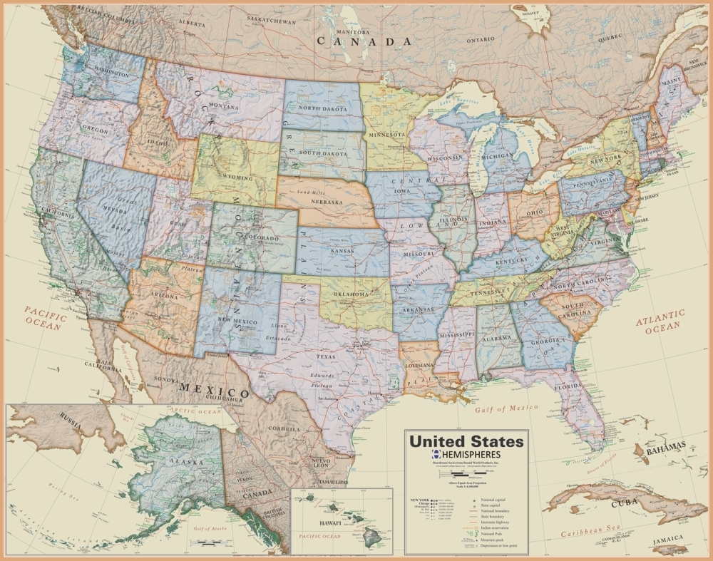 United States Wall Map Laminated Boardroom Style - A united states map