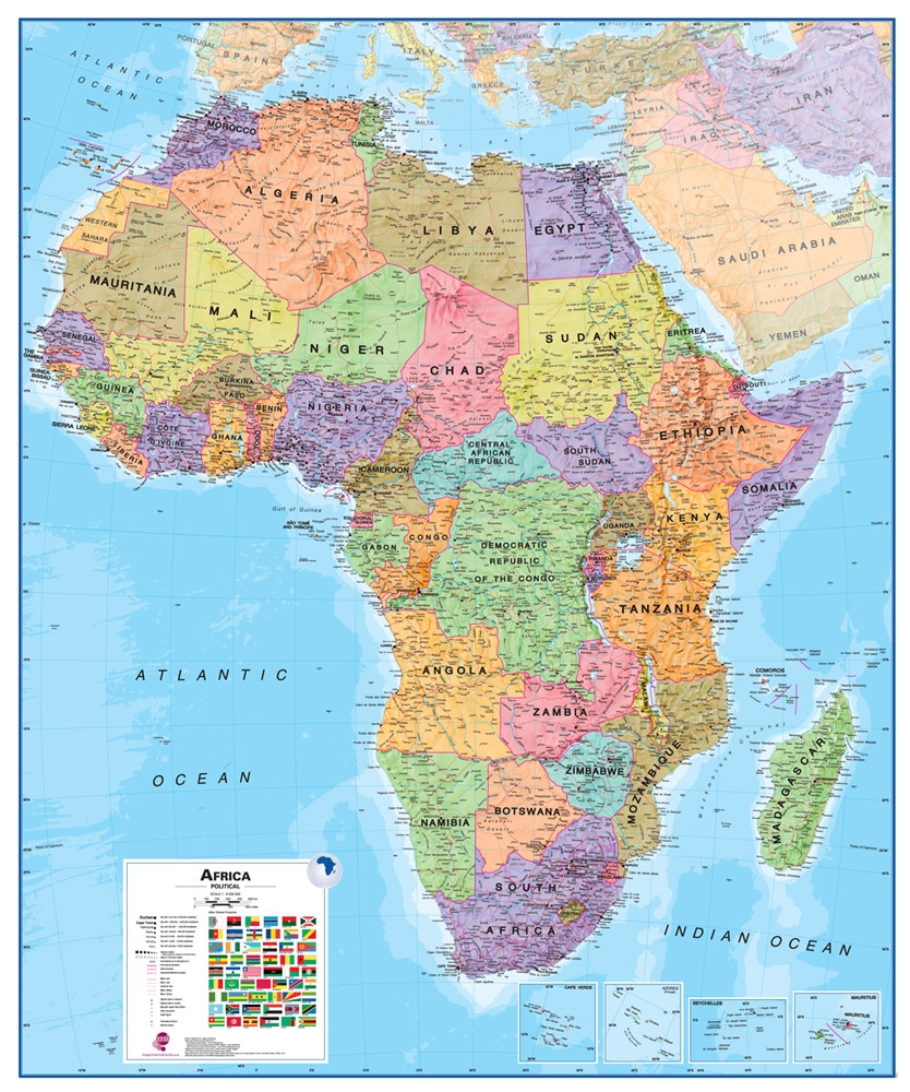 tanzania map and satellite image - tanzania on a large wall map of africa