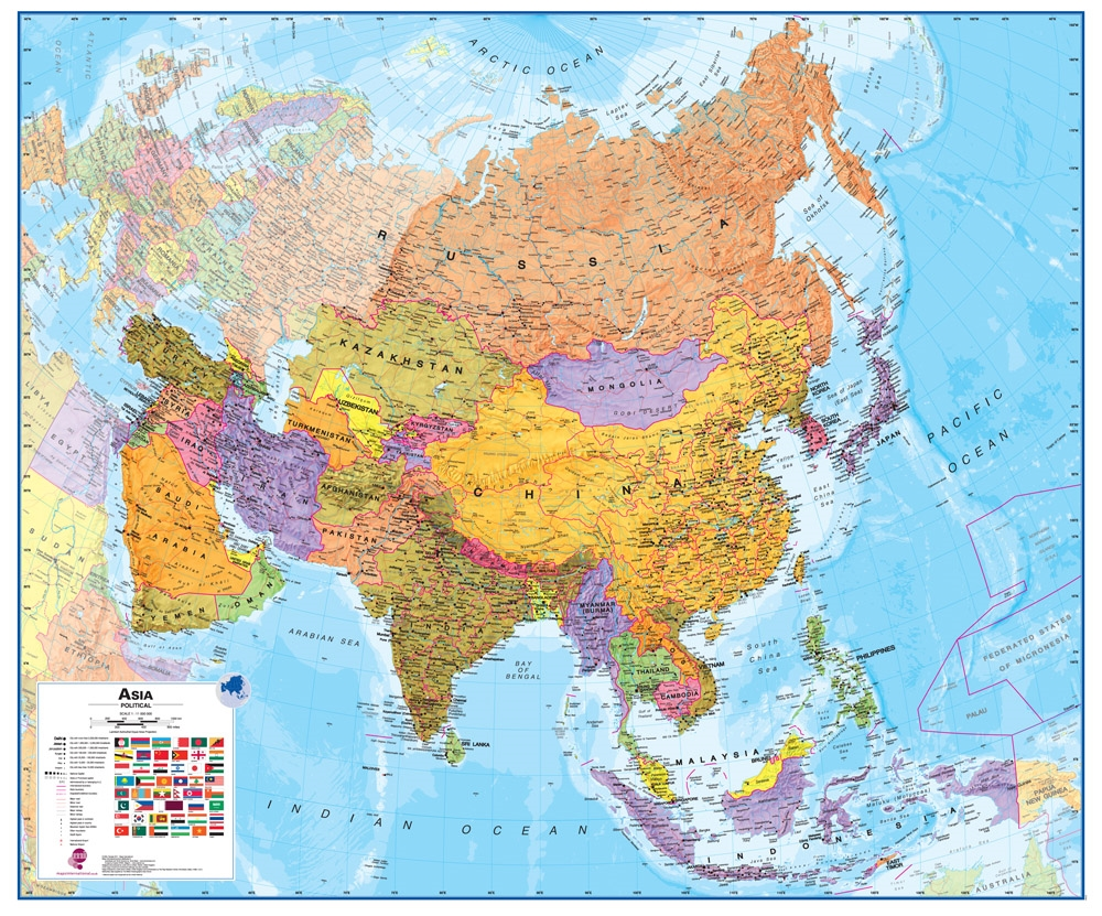 Wall Map Of Asia Large Laminated Political Map - Large laminated us map