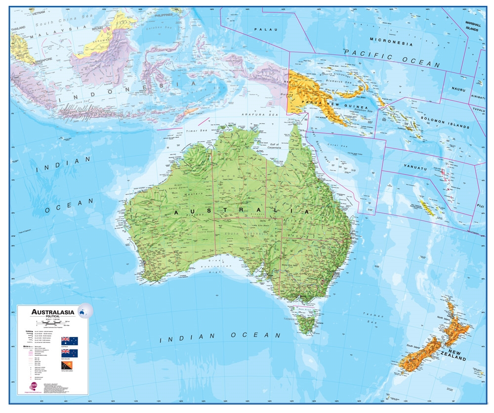 Wall Map Of Australia Large Laminated Political Map - Map of australia and new zeland