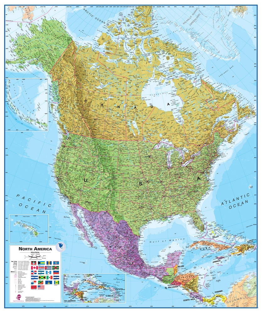 Wall Map Of North America Large Laminated Political Map - Physical features of canada and the united states