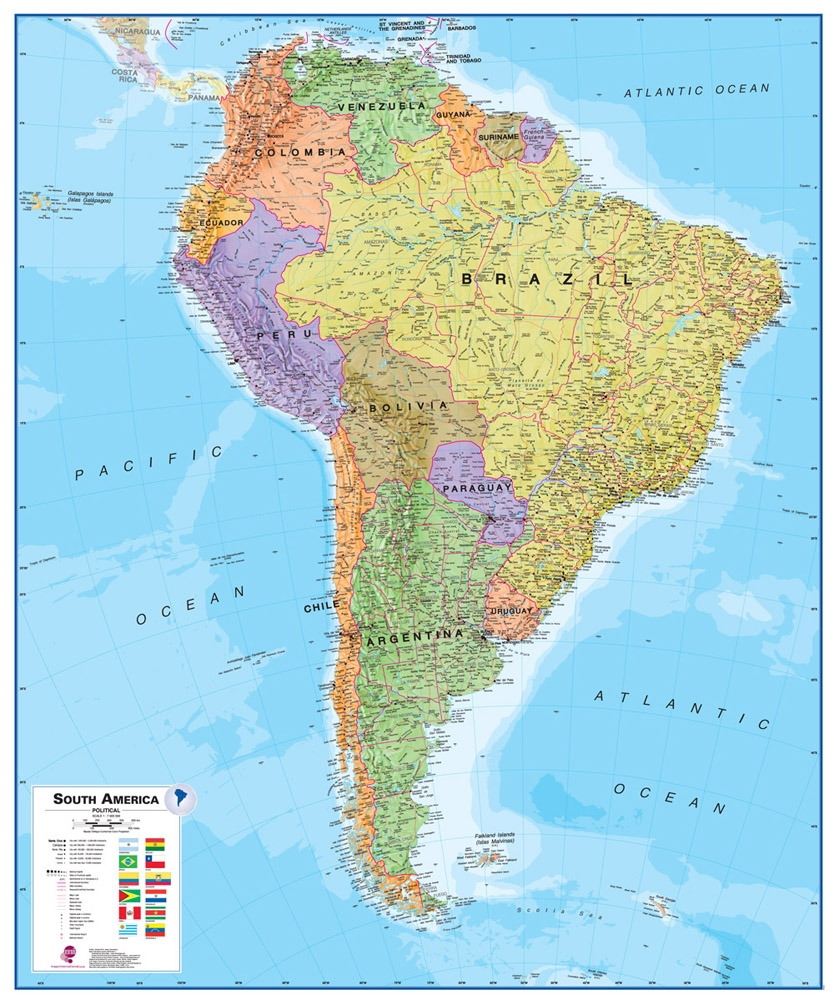 Brazil map and satellite image brazil on a large wall map of south america gumiabroncs Choice Image