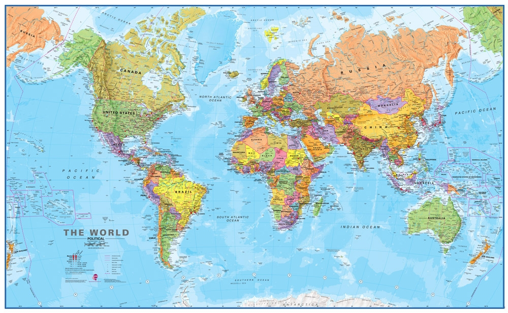 Laminated World Map GIANT Map of the World   Laminated   Over 6 feet wide! Laminated World Map
