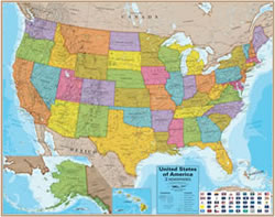 Wall Maps For Sale World USA State Continent - Maps united states