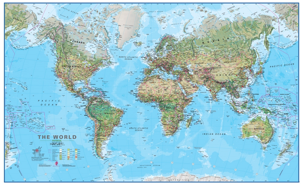 Physical Map Of The World Laminated Wall Map - The map of the world