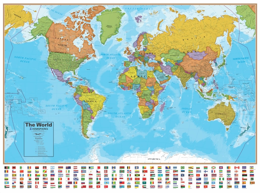 Wall map of the world laminated just 1999 blue ocean laminated wall map of the world gumiabroncs Gallery