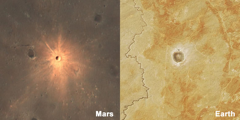 bright ejecta around an impact crater on Mars and Earth