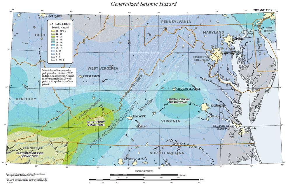 Earthquakes In The Central Virginia Seismic Zone - Nearest earthquake area us map