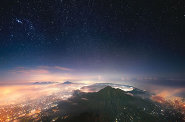 Mount Agung at night