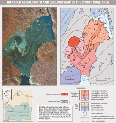 geologic map of a cinder cone and lava flows