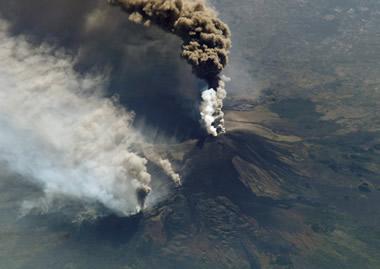 Mount Etna ash plume