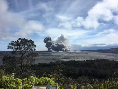 Ash Plume at Kilauea Summit