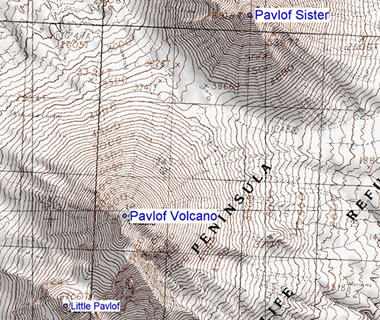 Pavlof topographic map