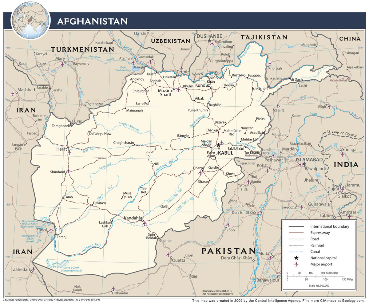 Afghanistan Map and Satellite Image